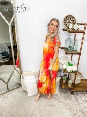 Tie dye maxi dress with side slit