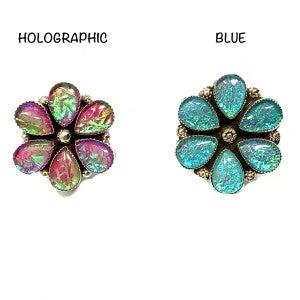 M & S - Iridized Opal Flower Ring