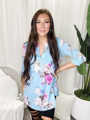 Sew In Love - 3/4 sleeve floral print top(plus)