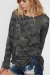 Green Long Sleeve Camouflage Twisted Hem Sweater
