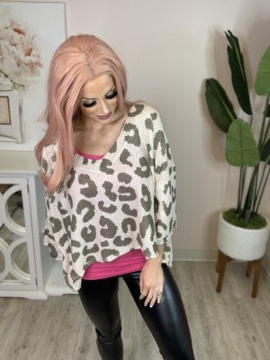 POL - Sweater knit top with dolman sleeves