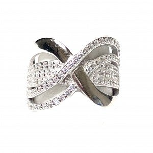 Silver CZ Crystal Crossed Wave Ring