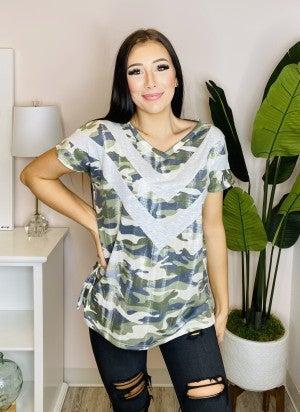 Sew In Love - Camo print v neck short sleeve top(plus)