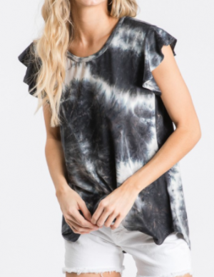 Heimish - Ruffled short sleeve round neck round hem tie dye print top(plus)
