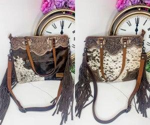 AMERICAN DARLING-Medium brown and white handbag with leatherwork and fringe
