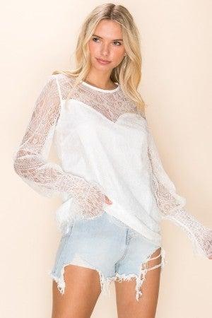 CEZELE-Lace Mesh Long Sleeve Top