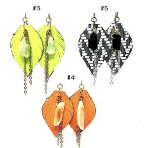 Emerge Small Leaf Earrings with Crystal and Chain