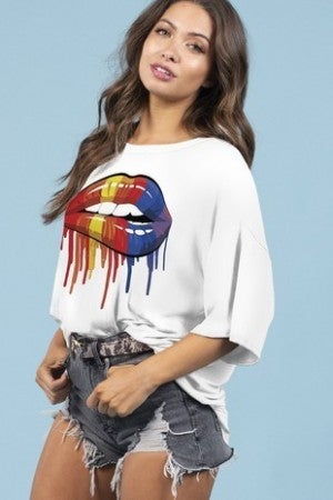 BLUE BUTTERCUP-Multi Colored Lips On Oversized Top