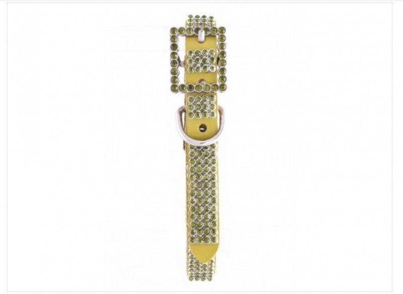 Thin Mesh Rhinestone Studded Leather Dog Collar