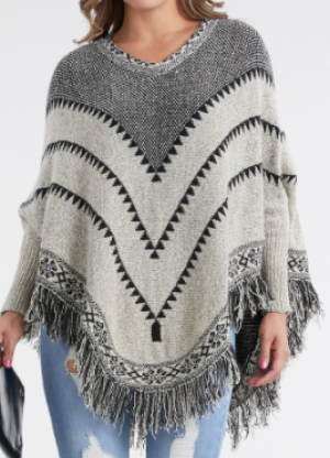 Ocean Us - Abstract pattern fringe poncho sweater