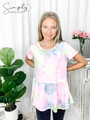 Honeyme - Short sleeve round neck tie dye tunic top(plus)