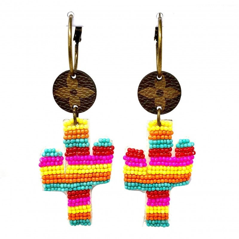 LV Up-Cycled Beaded Cactus Dropdown Hoop Earrings