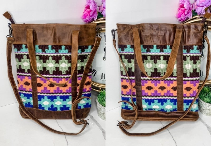 American Darling - Leather and knit detail cross body bag