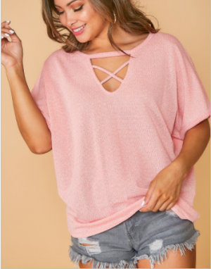 Fantastic Fawn - Two tone sleeve knit top with front criss cross detail