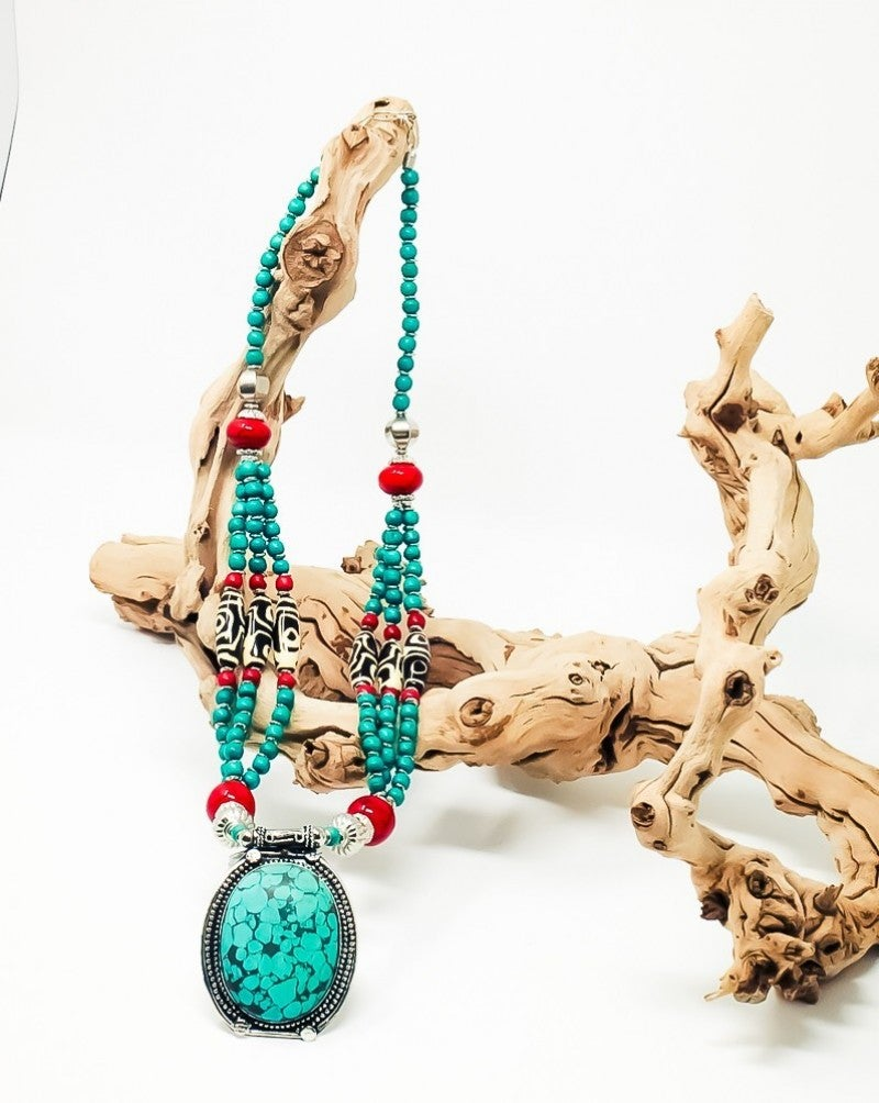Charlene K Vintage Nepal Tribal Gemstone Statement Necklace