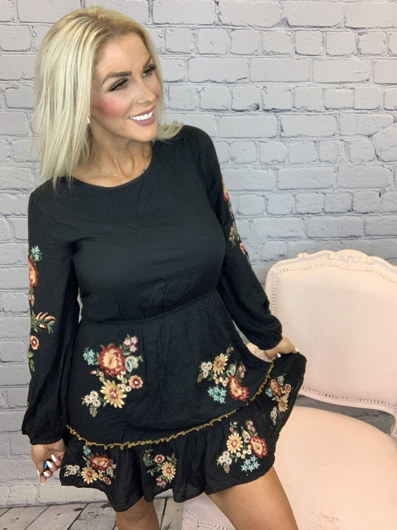 Andree- Long sleeve embroidered dress