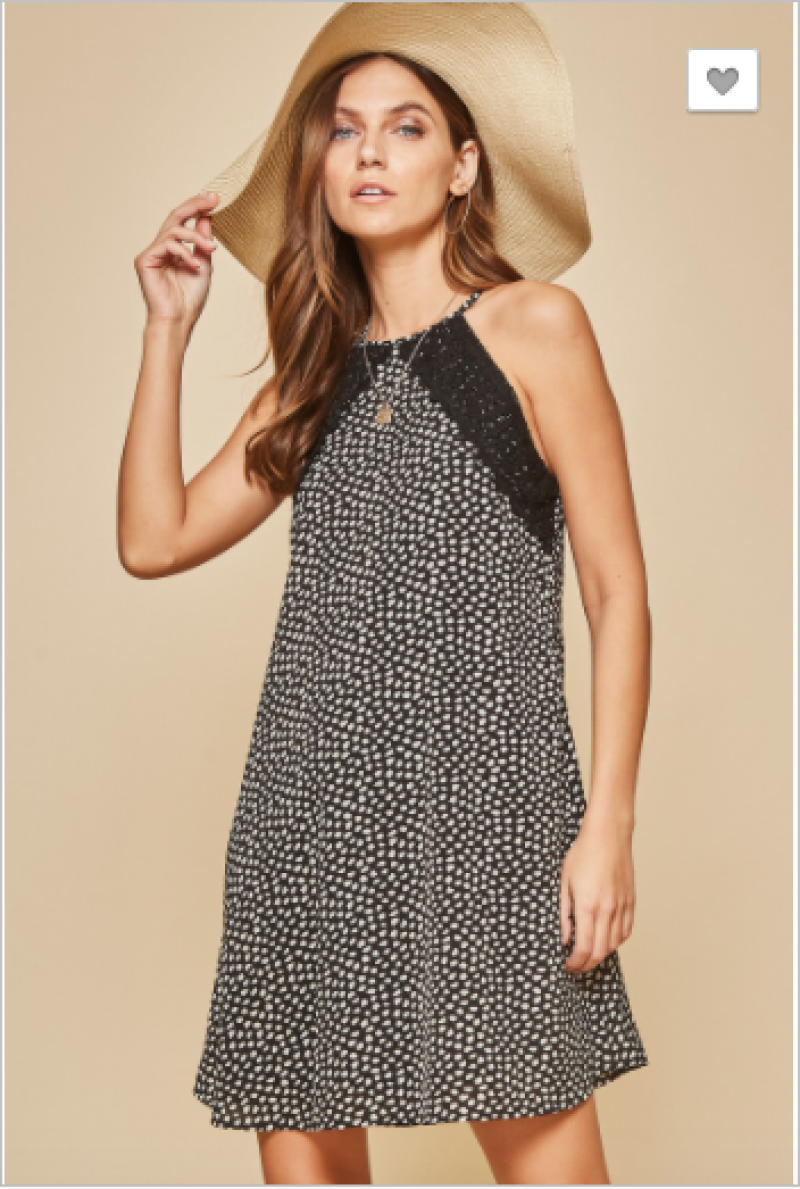 Andree by Unit - High neck leopard dress with lace detail
