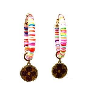 LV Up-Cycled Rainbow Hoop Earrings