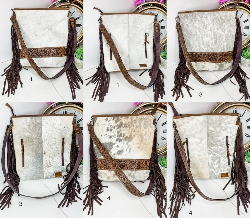 AMERICAN DARLING-Hand crafted leather detail cross body bag with fringe