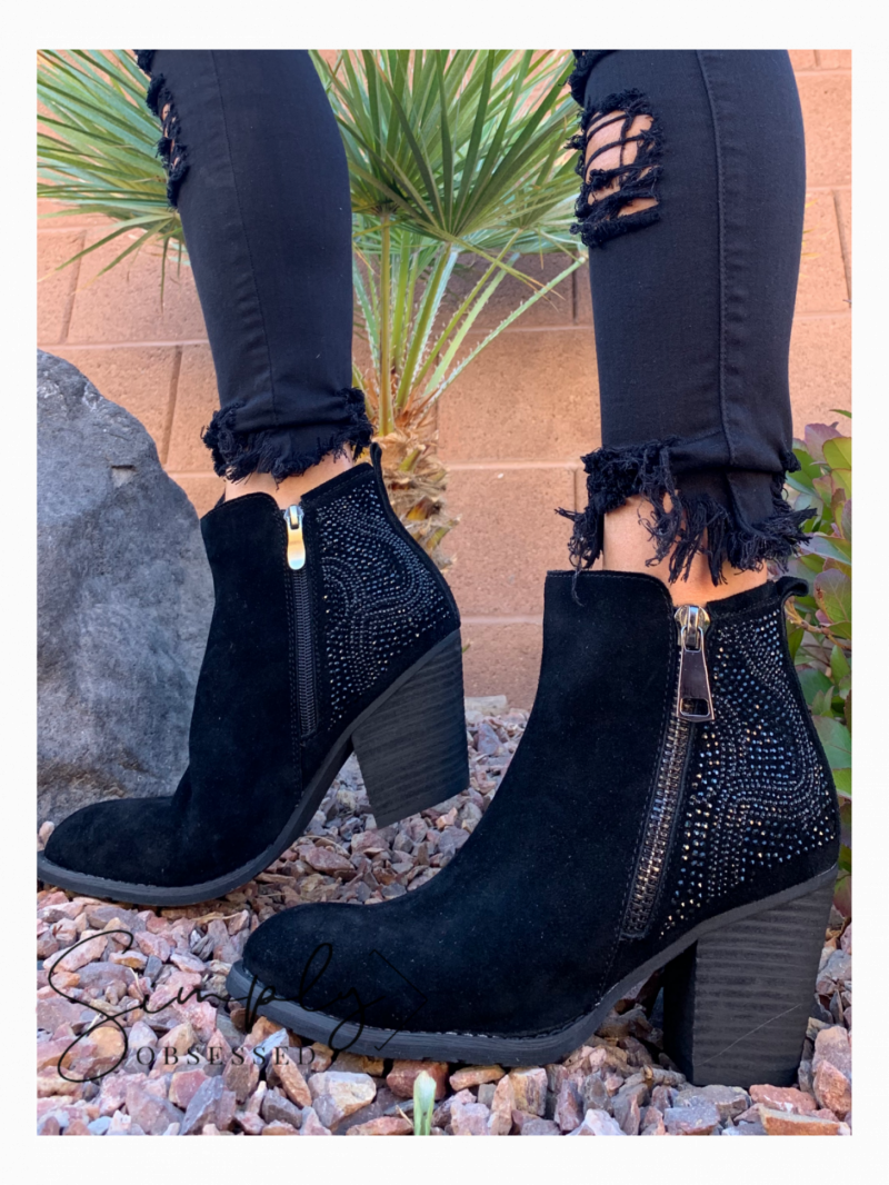 Corky's- Silky black bling booties