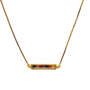 Gold Rainbow Bar Necklace