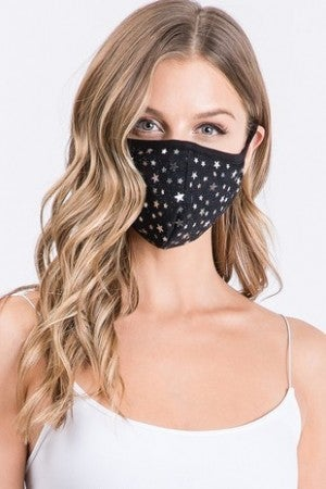 (SET OF THREE) AMITIE-BLING STARS FACE MASK