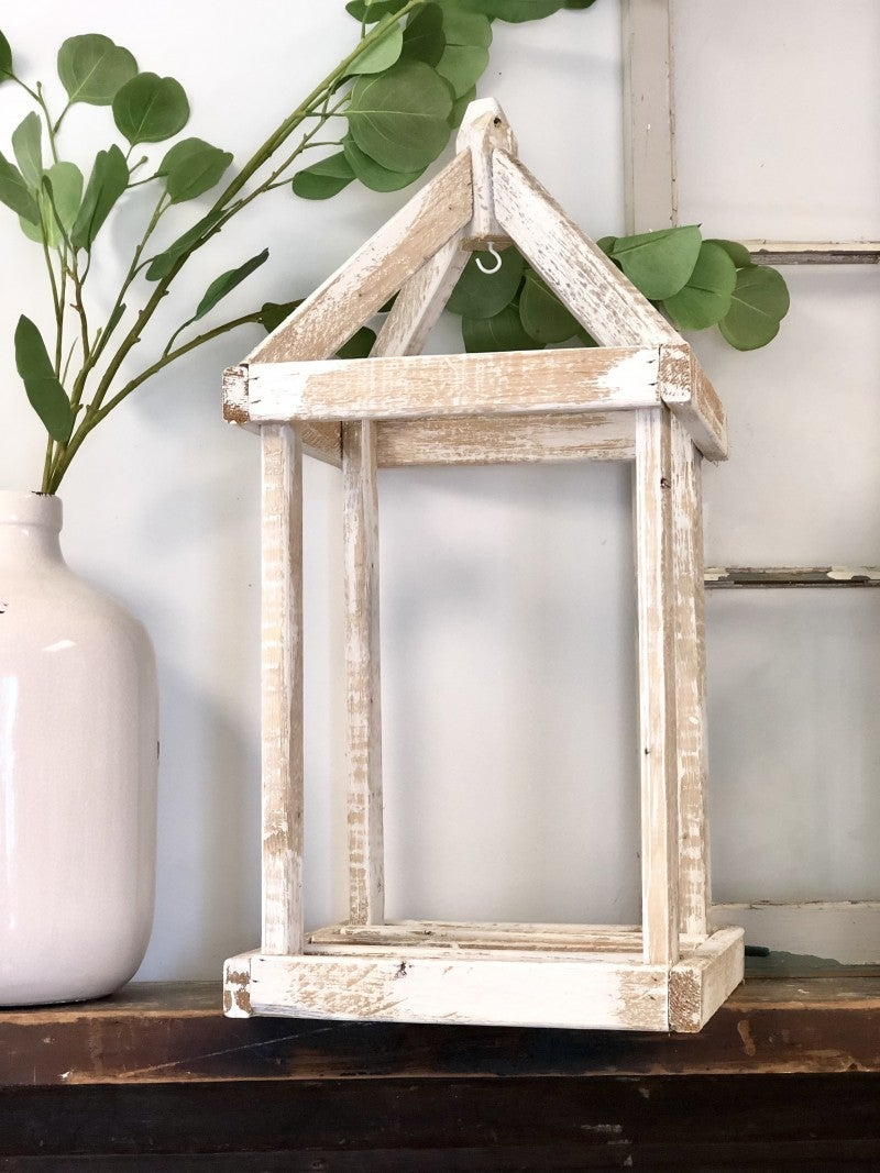 Rustic White Wash Lanterns: Small and Large