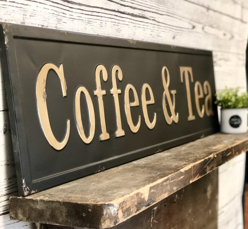 Coffee & Tea Embossed Sign
