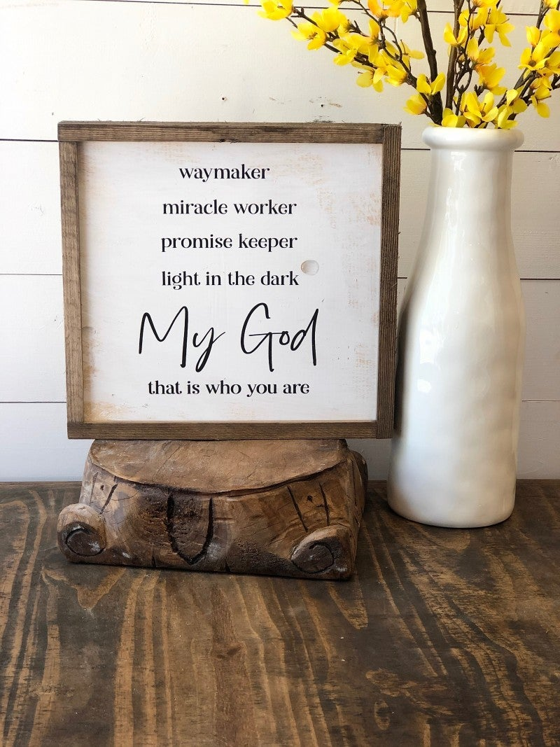 """My God"" Framed Wood Sign"