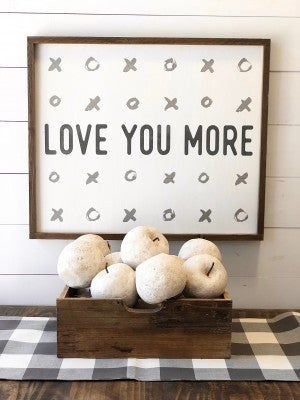 "Large ""Love You More"" Framed Wood Sign"