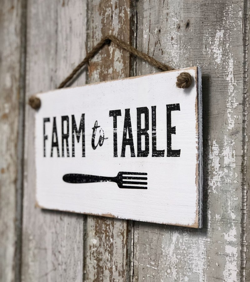 "Wooden ""Farm To Table"" Rope Sign"