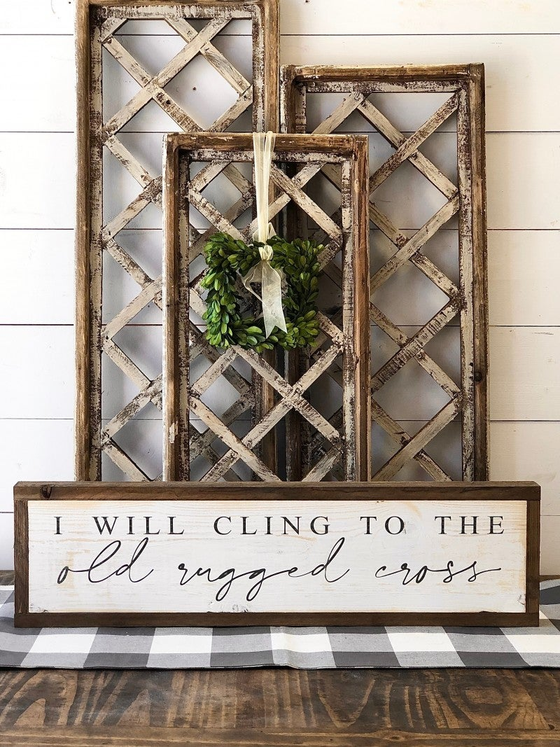 """Old Rugged Cross"" Framed Wood Sign"