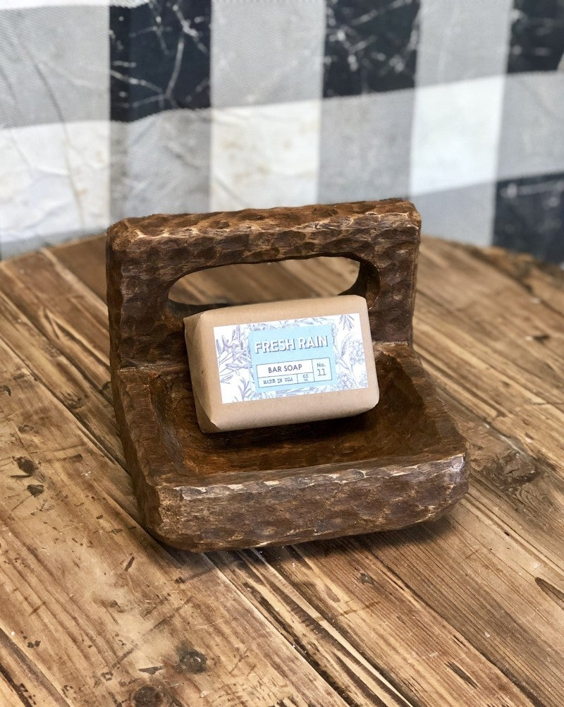 Wooden Soap Dish with Soap