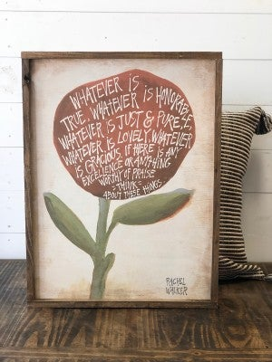 """Flower"" Framed Wood Sign"