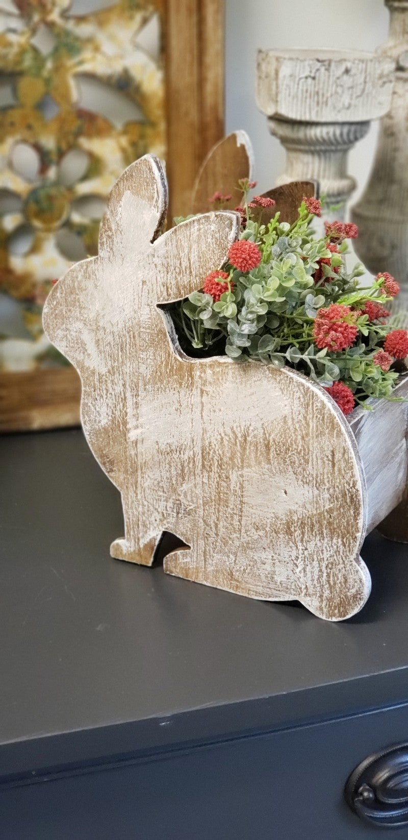 Wooden Bunny Planter