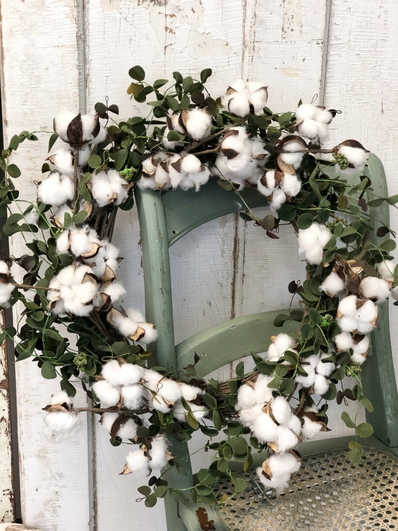 Cotton Eucalyptus Green Wreath