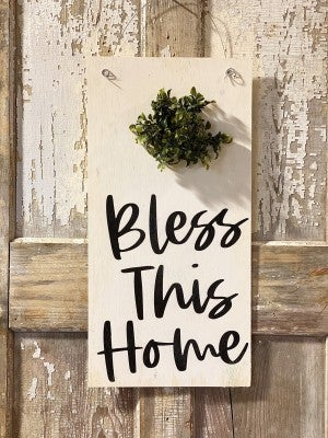 Door Hanger-Bless This Home with Wreath