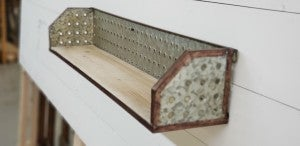 Industrial Holed Metal and Wood Wall Shelf
