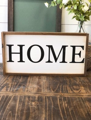 """HOME"" Framed Wood Sign"