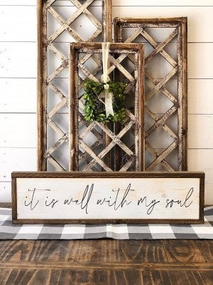"""It Is Well"" Framed Wood Sign"