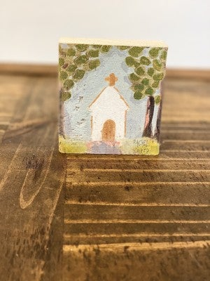 "HAPPY 3.75"" Block-Church with Trees"