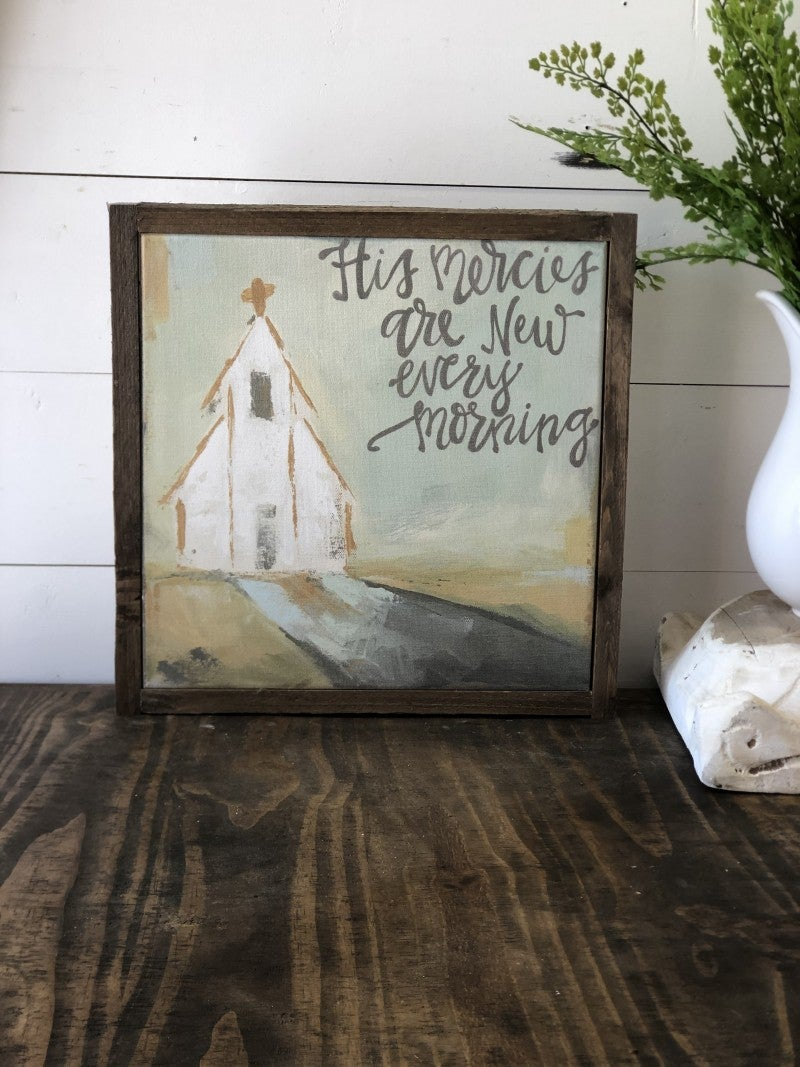 """His Mercies are new every morning"" Framed Canvas"