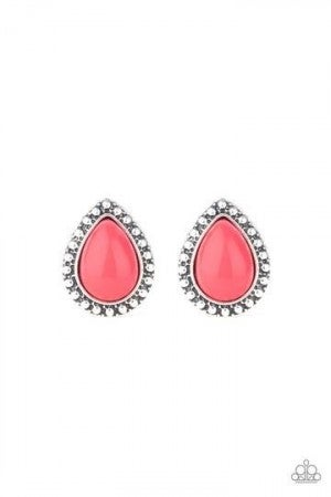Boldly Beaded Pink Post Earring