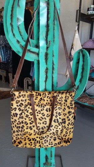 """The Wynona""  Cheetah Tote Bag with Cross Body and CCG Pouch"
