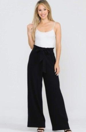 Black Linen Wide Pants with Waist Sash