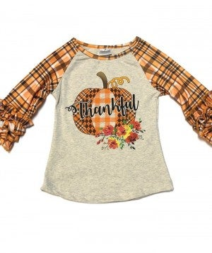 Girls Thankful Top With Ruffle Sleeves