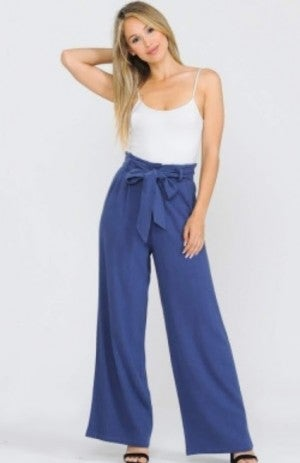 Blue Linen Wide Pants with Waist Sash