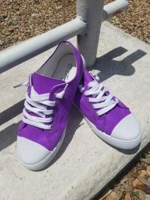 Ladies Low Top Purple Sneakers