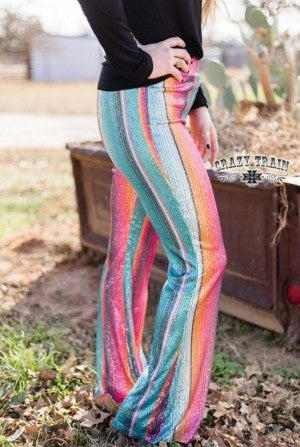 STAYIN' ALIVE FLARES ** Sequin Serape