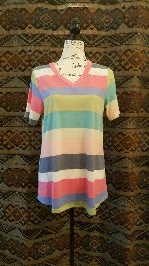 Multi Color Block V-Neck Short Sleeve Top